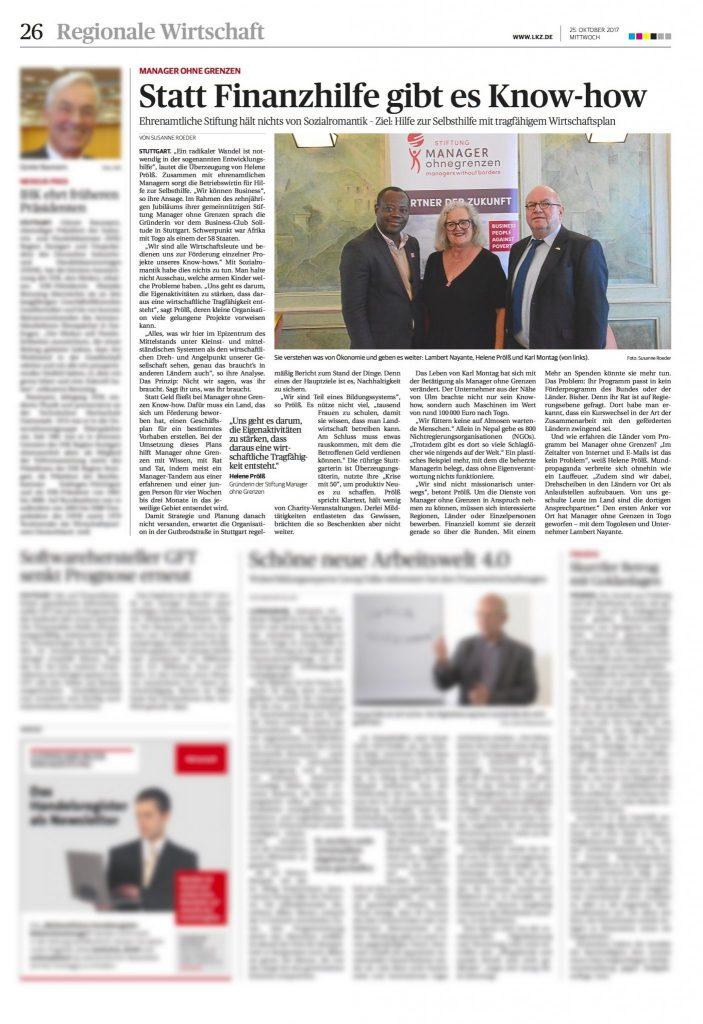 Artikel Manager ohne Grenzen in der Ludwigsburger Kreiszeitung