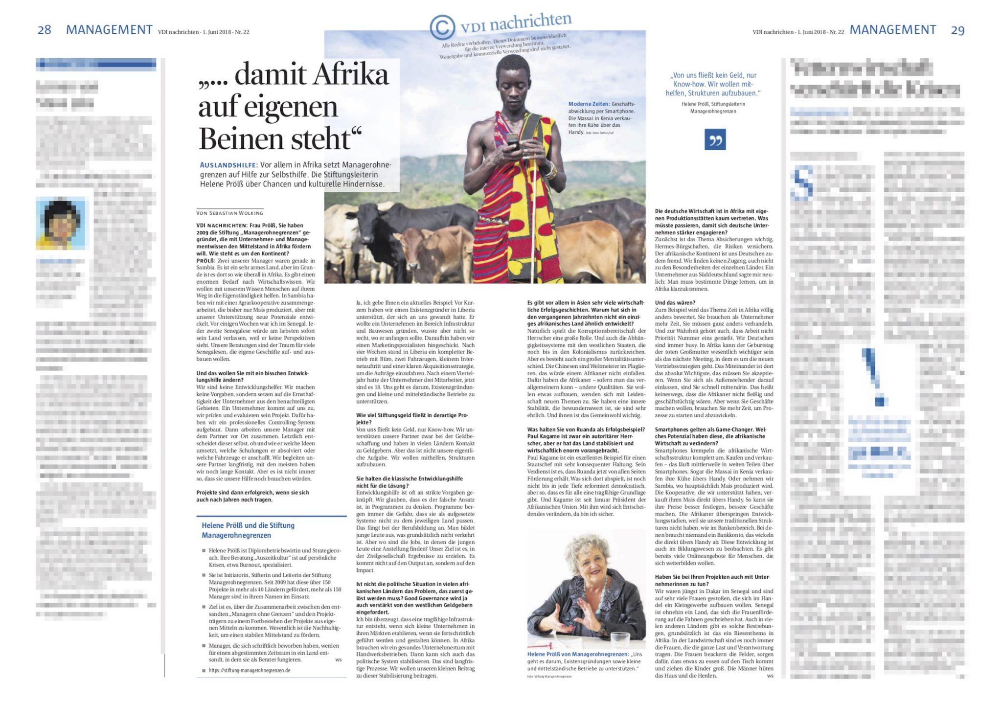 Manager ohne Grenzen @ VDI Nachrichten, June 2018
